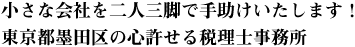 小さな会社を二人三脚で手助けいたします!東京都墨田区の心許せる税理士事務所
